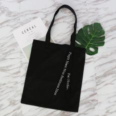 Yang Chic Minimalis Tas Bahu Dengan Satu Tali Bahasa Inggris Huruf Portabel Tas Tas Kanvas (Hitam)