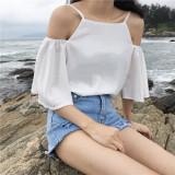 Model Yang Chic Musim Panas Baru Temperamen Kerah Kemeja Putih Putih Terbaru