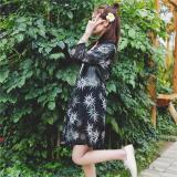 Harga Hemat Baju Pelindung Terik Matahari Wanita Lengan 3 4 Model Setengah Panjang Aneka Warna Sifon Bagian Panjang Bunga Matahari Hitam