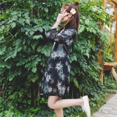 Baju Pelindung Terik Matahari Wanita Lengan 3 4 Model Setengah Panjang Aneka Warna Sifon Bagian Panjang Bunga Matahari Hitam Terbaru