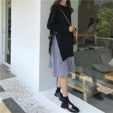 Jual Chic Retro Kotak Kotak Renda Di Bagian Panjang Rok Setengah Panjang Pakaian Wanita Lengan Panjang Gaun Hitam Online