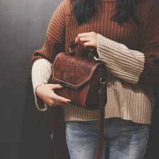Beli Barang Chic Retro Semi Perempuan Dan Baru Tas Tangan Selempang Miring Tas Coklat Gelap Online
