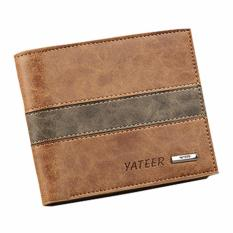 Yateer Dompet Cowo Casual Middle Line - Coklat