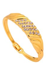 Toko Yazilind Jewelry Gold Plated Crystal Leaf Charming Bracelet Yazilind Di Tiongkok