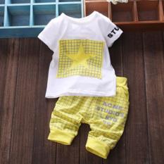 2 Buah Bayi Pakaian Katun Set T-shirt-nya Top + Celana Kotak-kotak Kuning YBC- Internasional