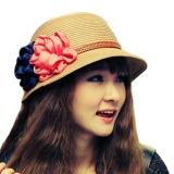 Toko Ybc Fashion Panas Musim Kasual Perempuan Pinggiran Lebar Topi Jerami Topi Pantai Matahari Krem Murah Di Tiongkok