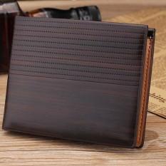 YBC Fashion Pria Kulit Pendek Kecil Vintage Dompet Timbul Wadah Uang Kartu Kredit Dompet Berkualitas Tinggi-Intl