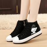 Beli Bercahaya Korea Fashion Style Wanita Renda Sepatu Flat Hitam Pergelangan Kaki Tinggi Sepatu Kanvas Musim Semi Dan Gugur Sepatu Tunggal Hitam Yeguang Hitam Model Sepatu Terbaru