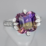 Beli Yenzshop Js106 Natural Yellow Purple Ametrine 925 Sterling Silver Ring Size 7 5Us North Sumatra