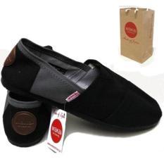 yersi store Sepatu unisex pria dan wanita wakai abu hitam, sepatu wakai pria slip on loafer sepatu wanita wakai