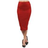 Jual Yidabo Wanita Seksi Elegan Hitam Imitasi Rok Pensil Kulit Pinggang Tinggi Ke Bawah Lutut Merah Anggur Branded