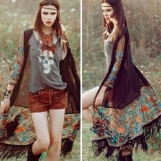 Yidabo Gaya Etnik Harga Women's 4 Colors High Waist Career Short Skirts Tembus Pandang Jersey Rayon Bordir Bunga Rumbai Kardigan Panjang Atasan Blus-Internasional