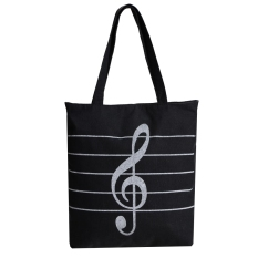 Yidabo Wanita Korea G*rl S Single Shoulder Portable Musical Symbol Canvas Bag Hitam Tiongkok Diskon 50