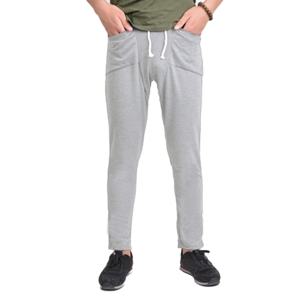 Yidabo Pria Reguler Fit Olahraga Harem Celana Tas Jogging Pria (Abu-abu Muda)