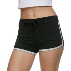 Dapatkan Segera Yidabo Olahraga Panas Musim Kasual Wanita Langsing Kurus Pants Bang Pendek Peregangan Mini Hitam