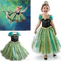 Yika Frozen Anna Kostum Girls Queen Putri Cosplay Pesta Fancy Formal Dress 2-9Y-Intl