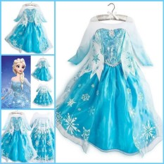 Yika Kids Frozen Elsa Putri Kostum Ratu Cosplay Gadis Fancy Dress 2-9 T Mahkota-Intl