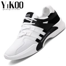 Obral Yikoo Pria Fashion Sepatu Sepatu Bernapas Santai Berjalan Sepatu Olahraga Black White Intl Murah
