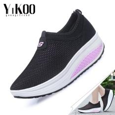 Beli Yikoo Women Fashion Mesh Wedge Sneakers Breathable Fitness Sepatu Shake Sepatu Violet Intl Kredit