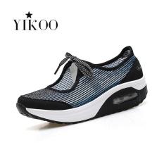 Jual Beli Online Yikoo Women Fashion Wedge Sneakers Breathable Fitness Olahraga Sepatu Pria Biru Gradient Warna Intl