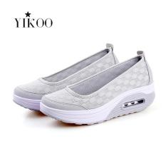 Spesifikasi Yikoo Women Fashion Wedge Sneakers Breathable Olahraga Shoes Grey Intl Terbaru
