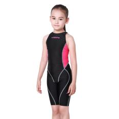 Yingfa bionik VISHARK kulit permainan profesional wanita siam berenang baju renang anak baju renang (Merah muda hitam untuk melawan)
