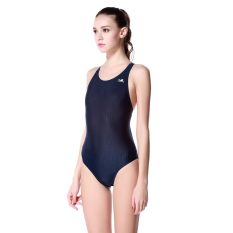 Yingfa Wanita Kebugaran Bergaris Kompetisi Berenang Baju Renang Sepotong Baju Renang (Biru) (Biru)