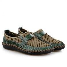 Beli Yinglunqishi Jala Kasual Pria Datar Loafers Sepatu Formal Kulit Hijau Jc158 Tiongkok