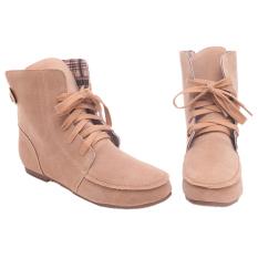 Harga Yingwei Wanita Fashion Flat Ankle Boots Beige Intl Baru