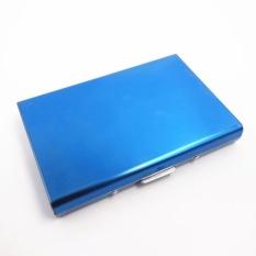 Diskon Produk Yixiangqing Bermutu Tinggi Stainless Steel Pria Pemegang Kartu Kredit Wanita Metal Bank Kartu Case Card Box Rfid Dompet Kartu 007 Biru Intl
