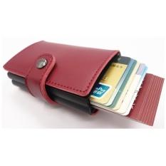 Yixiangqing Mini Kulit Dompet Pria Travel ID Pemegang Kartu Kredit Pelindung Kartu RFID Otomatis Double Aluminium