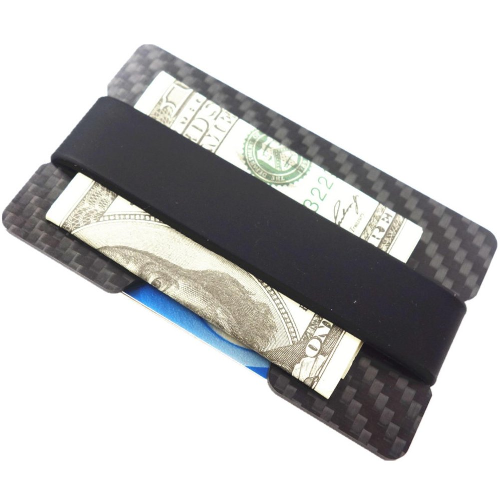 Harga preferensial Yixiangqing Minimalist Carbon Fiber Slim Wallet Money Clip RFID-Blocking ID Credit Card
