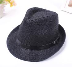 Yixuefang Topi Korea Fashion Style Pelindung Sinar Matahari Pria Dan Wanita Topi Jerami Pantai ([Bagian belt-hitam])