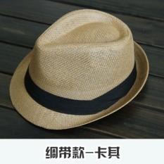 Yixuefang Topi Korea Modis Gaya Pelindung Sinar Matahari Matahari Pria atau Wanita Topi Jerami Pantai ([Pita Model-Khaki ])