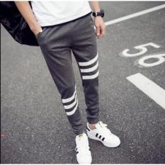 YJS Tiga Bar Dekorasi Celana Pria Kasual Celana Menjalankan Essentials-Intl
