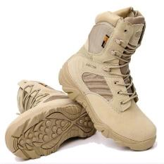YL238 Delta Boots Desert Boots High Boots Pria Pasukan Khusus Outdoor Sepatu Latihan Pelatihan Militer Boots Wild Hiking Boots Kulit Boots EU39-EU45 (Pasir Warna) -Intl