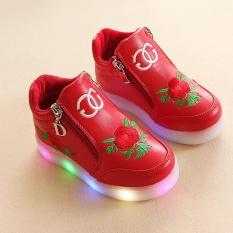 YL277 Musim Semi dan Musim Gugur Mode Leisure Mawar Light Children's Sepatu LED Bercahaya Lembut Bawah Gadis Sepatu Bayi Sepatu (merah) -Intl