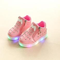 YL278 2018 Musim Semi dan Musim Gugur Model Kenyamanan Mode Light Anak's Sepatu Set Rhinestones Kartun LED Luminous Soft Bottom Girl Sepatu Bayi Sepatu (Pink) -Intl