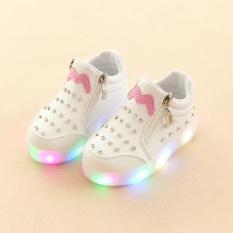 YL278 2018 Musim Semi dan Musim Gugur Model Kenyamanan Mode Light Anak's Sepatu Set Rhinestones Kartun LED Luminous Soft Bottom Girl Sepatu Bayi Sepatu (Putih) -Intl