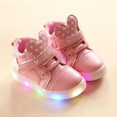 YL280 Cahaya Baru Fashion Cartoon Light Anak's Sepatu LED Fashion Laki-laki Perempuan Sepatu Kasual Berkedip Kecil Sepatu (Merah Muda) -Intl