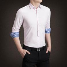 YMV Kemeja Lengan Panjang Pria Aneka Warna Membentuk Tubuh Moderen (C13 Bubuk) Baju Atasan Kaos Pria Kemeja Pria