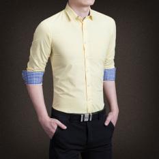 Promo Ymv Kemeja Lengan Panjang Pria Aneka Warna Membentuk Tubuh Modern C13 Kuning Akhir Tahun