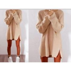 Yohanne Wanita Gaun Longgar Ladies Rajutan High Low Besar Baggy Side Zipper Pullover Jumper (Krem