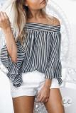 Harga Hemat Yoins Panas Wanita New High Fashion Pakaian Kasual Lengan Pendek Bahu Terbuka Stripe Atasan Blus Intl