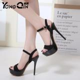 Harga Hemat Yongqin 2017 Boleh Suede High Heels Sandal Wanita T Ankle Strap Musim Panas Seksi Gaun Sepatu Wanita Terbuka Jempol Sandal Hitam