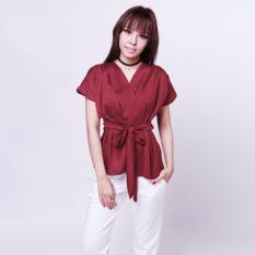 Beli Yoorafashion Atasan Wanita Tied Kimono Top Maroon Baru