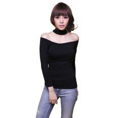 Jual Yoorafashion Baju Atasan Wanita Back Halter Slim Top Chocker Sabrina Black Di Indonesia