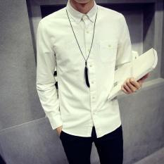 Pemuda Mahasiswa Katun Lengan Panjang POLO Berkualitas Tinggi Super Big Size Casual Shirt-putih-Intl