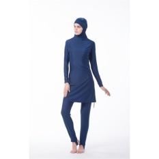 Wanita Muda Muslim Swimwear Beach Mandi Suit Muslimah IslamicSwimsuit Berenang Surf Wear Sport Pakaian Burqini Ukuran Lebih Biru & NB -Intl