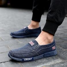Yozo Pria Sepatu Kasual Tas Wanita Kanvas SLIP ON Denim Nyaman Tren Pria Outdoor Leisure Shoes-Intl